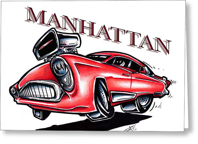 I Roate This Drawings Greeting Cards - The Manhattan Greeting Card by Big Mike Roate