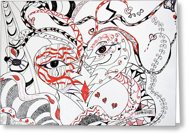 Flying Spider Greeting Cards - The Many Faces Of Love Greeting Card by Daphne Sampson