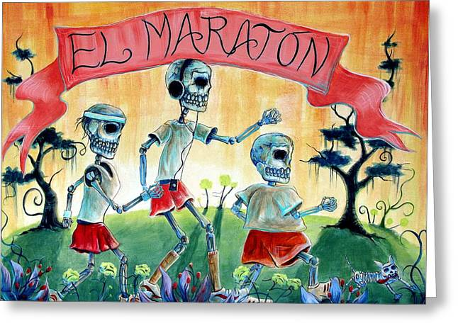 Jogging Greeting Cards - The Marathon Greeting Card by Heather Calderon