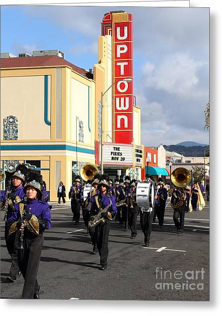 Marching Band Greeting Cards - The Marching Band at The Uptown Theater in Napa California . 7D8925 Greeting Card by Wingsdomain Art and Photography