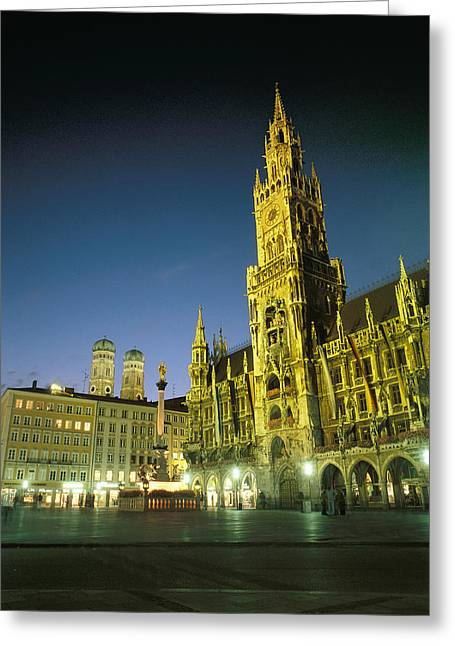 Marienplatz Greeting Cards - The Marienplatz at night Greeting Card by Taylor S. Kennedy