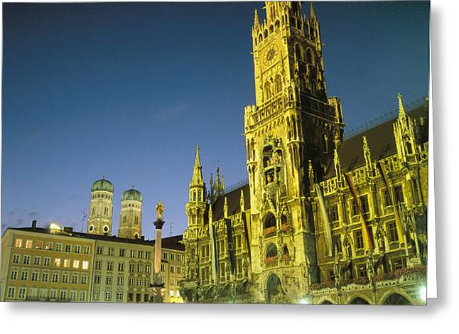 The Marienplatz at night Greeting Card by TAYLOR S. KENNEDY