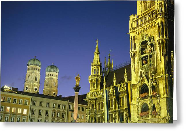 Marienplatz Greeting Cards - The Marienplatz in Greeting Card by Taylor S. Kennedy