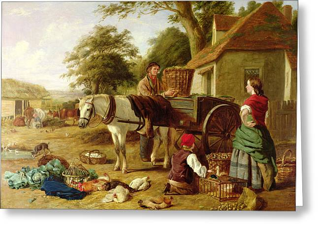 Farm Horse Greeting Cards - The Market Cart Greeting Card by Henry Charles Bryant