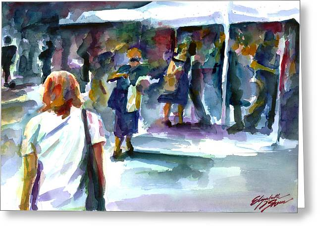Union Square Paintings Greeting Cards - The Market No. 2 Greeting Card by Elizabeth Shrum