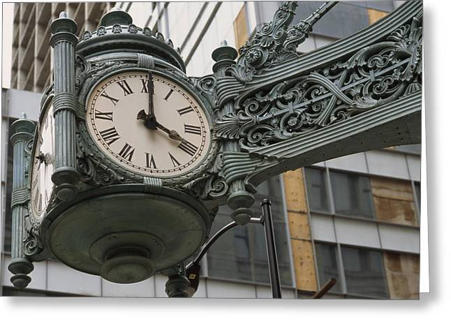Ways Of Life Greeting Cards - The Marshall Field Clock On The Corner Greeting Card by Paul Damien
