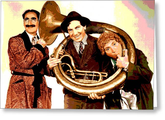 Marx Brothers Greeting Cards - The Marx Brothers Greeting Card by Charles Shoup