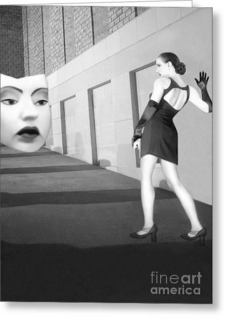 Sullen Greeting Cards - The Mask - Self Portrait Greeting Card by Jaeda DeWalt