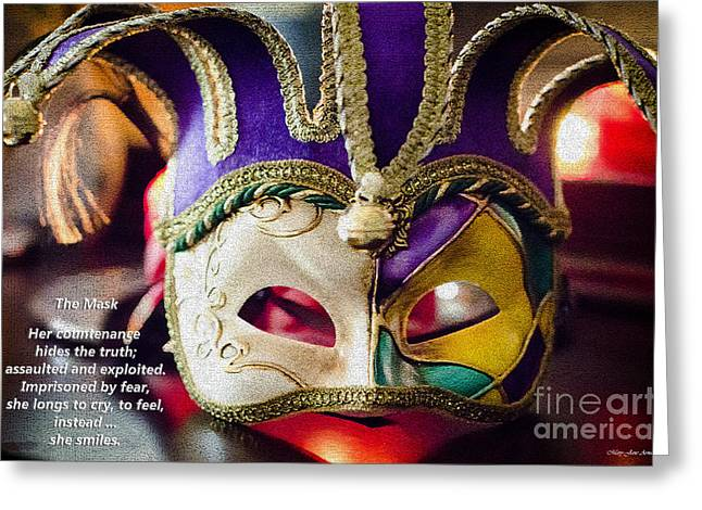 Exploited Greeting Cards - The Mask Greeting Card by MaryJane Armstrong