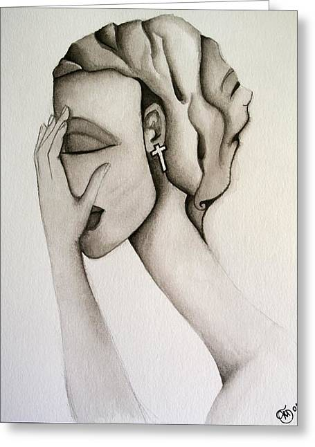 Doubting Paintings Greeting Cards - The Mask Greeting Card by Simona  Mereu