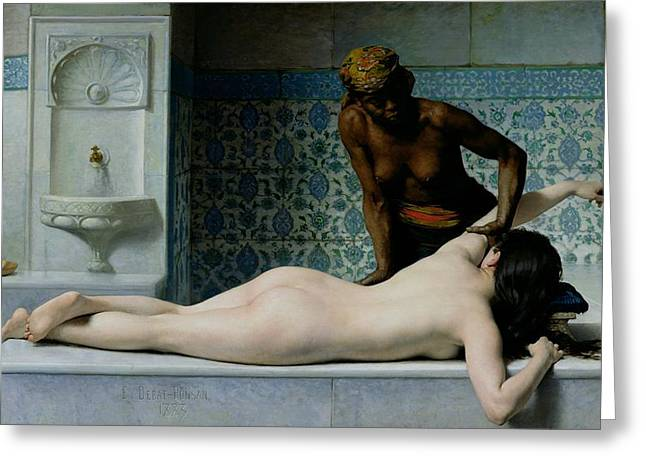 Interior Paintings Greeting Cards - The Massage Greeting Card by Edouard Debat-Ponsan