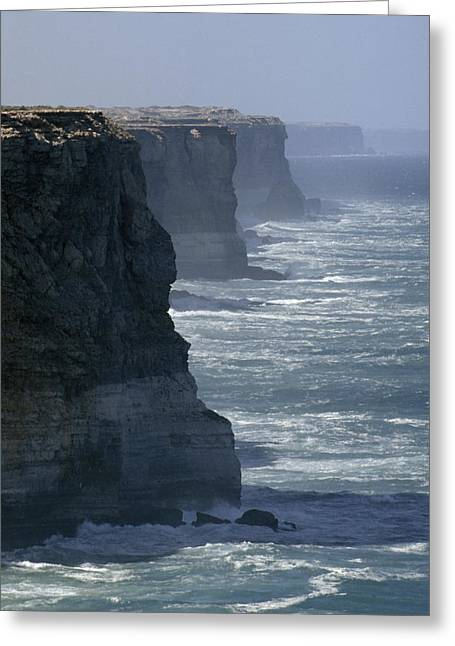 Edge Of The Cliff Greeting Cards - The Massive Bunda Cliffs Drop Over 200 Greeting Card by Jason Edwards