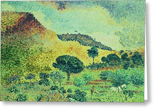 Dot Greeting Cards - The Maures Mountains Greeting Card by Henri-Edmond Cross
