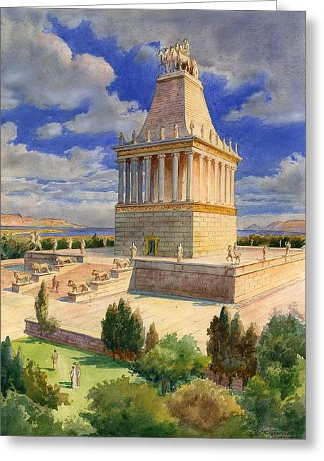 Stone Steps Greeting Cards - The Mausoleum at Halicarnassus Greeting Card by English School