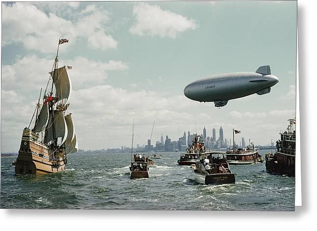 Image Collection Book Greeting Cards - The Mayflower Ii Enters New York Harbor Greeting Card by B. Anthony Stewart
