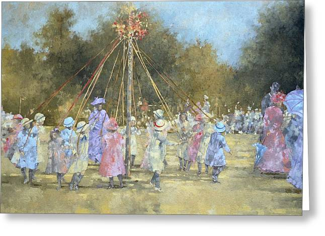 Kid Paintings Greeting Cards - The Maypole  Greeting Card by Peter Miller