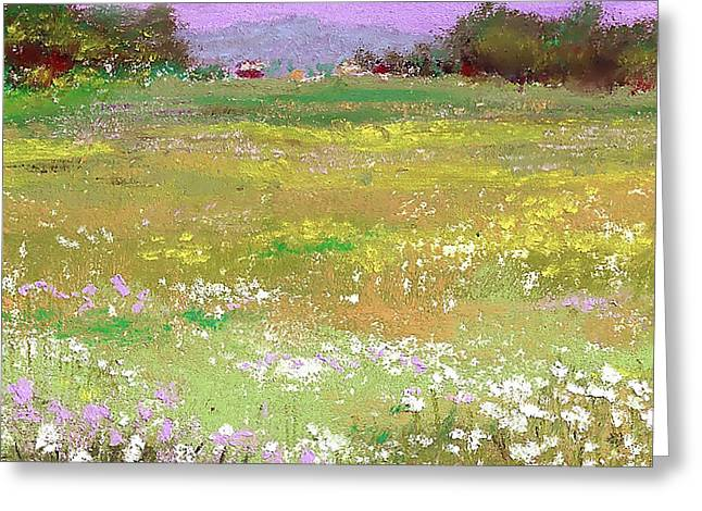 David Patterson Pastels Greeting Cards - The Meadow Greeting Card by David Patterson