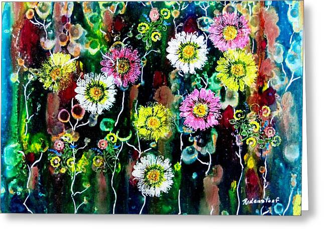 Representative Abstract Mixed Media Greeting Cards - The Meadow Greeting Card by David Raderstorf