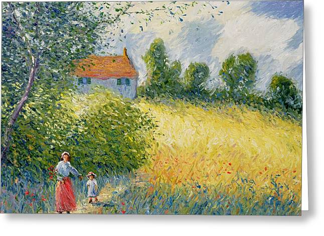 Skirt Greeting Cards - The Meadow Path  Greeting Card by Richard Kretchmer