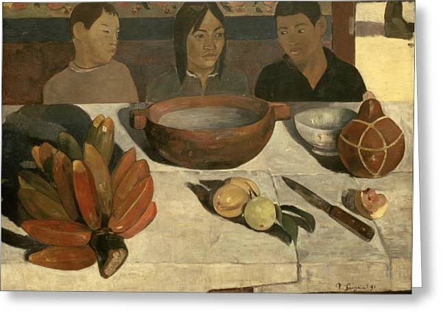 Gourd Greeting Cards - The Meal Greeting Card by Paul Gauguin