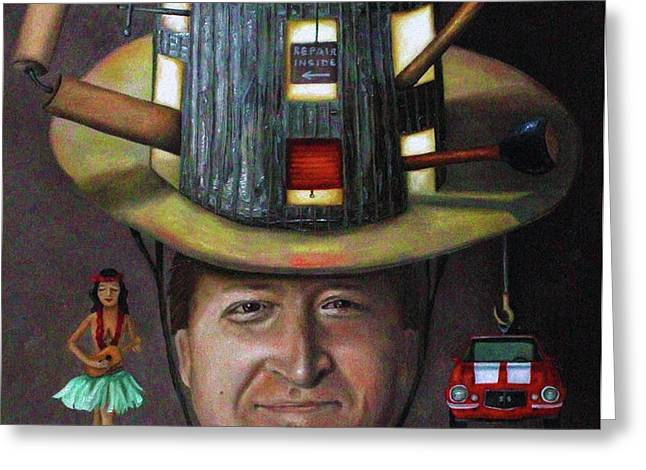 The Mechanic part of the Thinking Cap series Greeting Card by Leah Saulnier The Painting Maniac