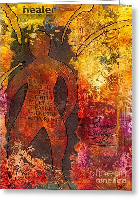 African-american Mixed Media Greeting Cards - The Medicine Man Greeting Card by Angela L Walker