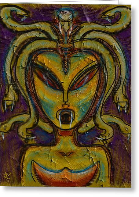 Medusa Mixed Media Greeting Cards - The Medusa Greeting Card by Russell Pierce