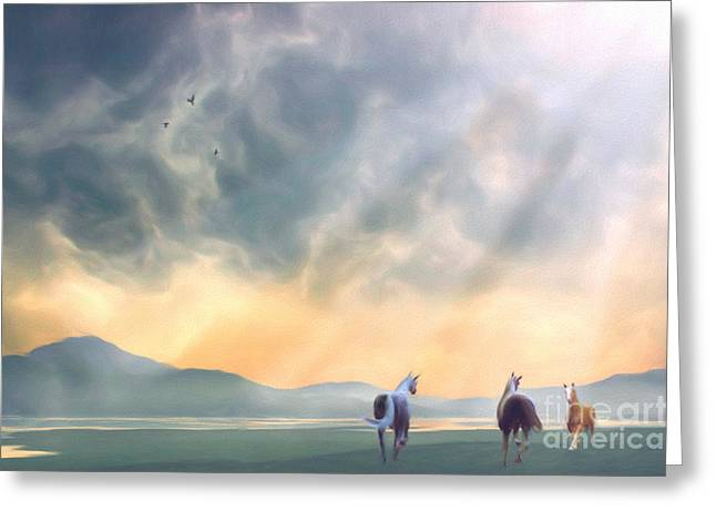 Equestrian Digital Art Greeting Cards - The Meeting Greeting Card by John Edwards