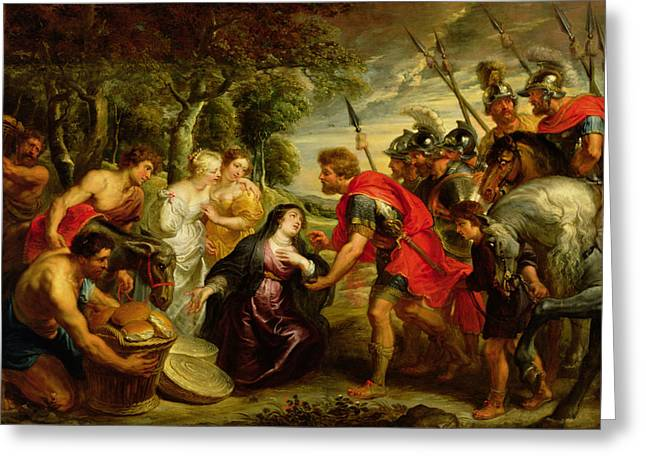 Knelt Photographs Greeting Cards - The Meeting of David and Abigail Greeting Card by Peter Paul Rubens