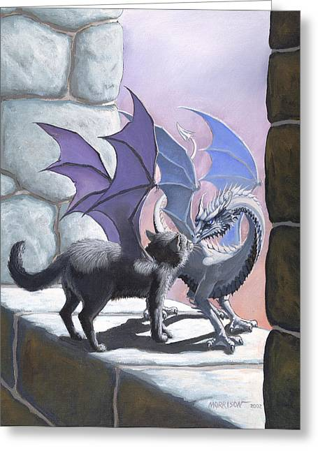 Fantasy Dragon Greeting Cards - The Meeting Greeting Card by Stanley Morrison