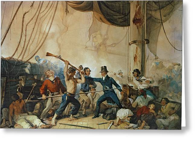 Captain America Paintings Greeting Cards - The Melee on Board the Chesapeake Greeting Card by Anonymous