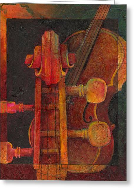 Cello Greeting Cards - The Mellow Cello Greeting Card by Susanne Clark