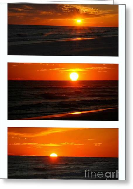 Ocean. Reflection Greeting Cards - The Melting Sun  Greeting Card by Susanne Van Hulst