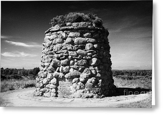 Battlefield Site Greeting Cards - the memorial cairn on Culloden moor battlefield site highlands scotland Greeting Card by Joe Fox