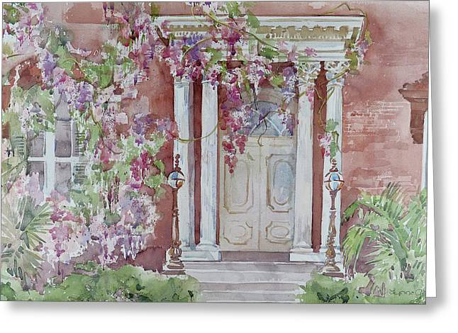 Historic Home Paintings Greeting Cards - The Mercer House Greeting Card by Lynne Grant