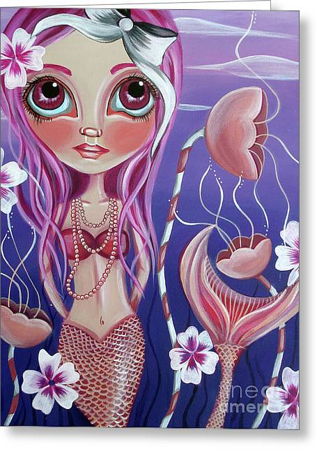 Flower Pink Fairy Child Greeting Cards - The Mermaids Garden Greeting Card by Jaz Higgins