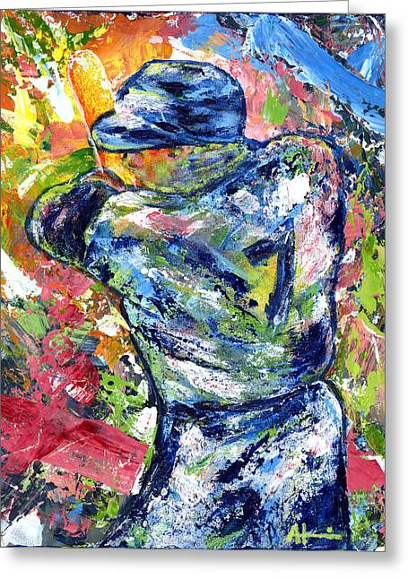 Baseball Stadiums Paintings Greeting Cards - The Mick Mickey Mantle Greeting Card by Ash Hussein