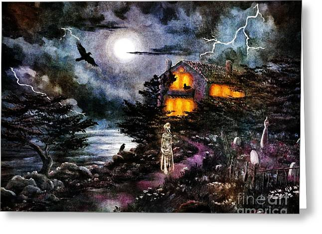 Dark Art Greeting Cards - The Midnight Dreary Greeting Card by Laura Iverson