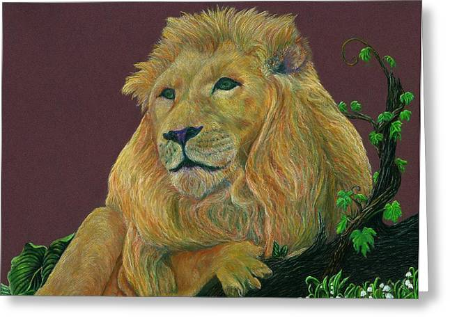 King Of Beast Prints Greeting Cards - The Mighty King Greeting Card by Jyvonne Inman