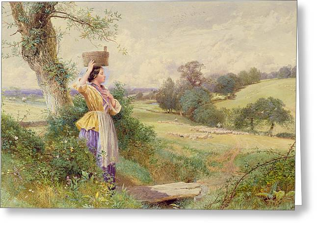 Dog Walking Greeting Cards - The Milkmaid Greeting Card by Myles Birkey Foster