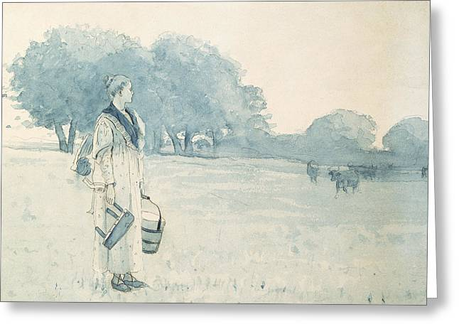 Farm Bucket Greeting Cards - The Milkmaid Greeting Card by Winslow Homer