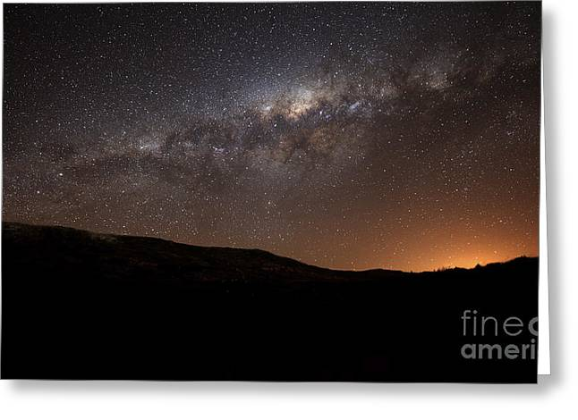 Magellanic Greeting Cards - The Milky Way Setting Behind The Hills Greeting Card by Luis Argerich