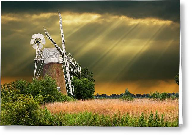 Sun Beams Sun Rays Greeting Cards - The Mill On The Marsh Greeting Card by Meirion Matthias