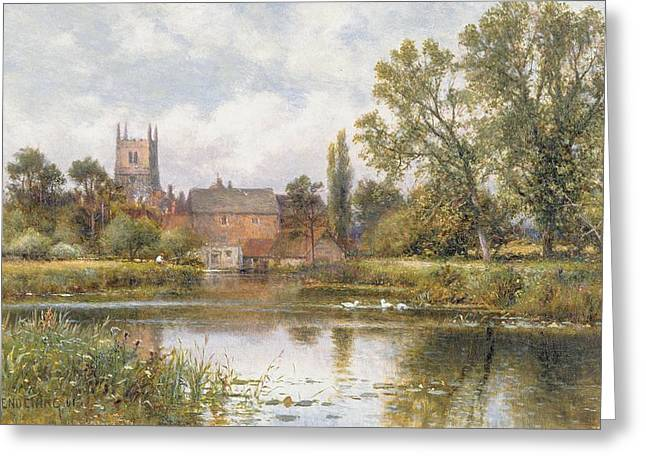 Tree Outside Greeting Cards - The Millpond Greeting Card by Alfred Glendening