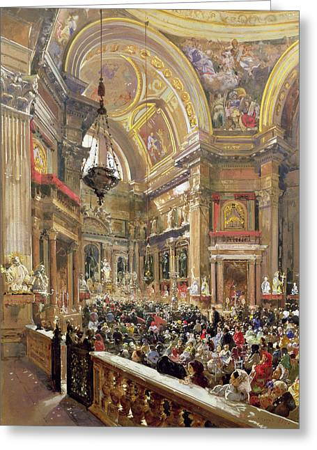 Gathering Greeting Cards - The Miracle of the Liquefaction of the Blood of Saint Januarius Greeting Card by Giacinto Gigante