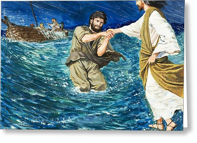 Fishing Boat Greeting Cards - The Miracles of Jesus Walking on Water  Greeting Card by Clive Uptton