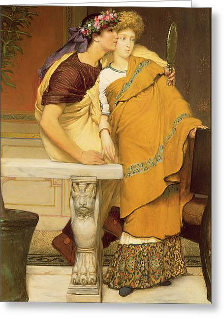 Married Couple Greeting Cards - The Mirror Greeting Card by Sir Lawrence Alma-Tadema