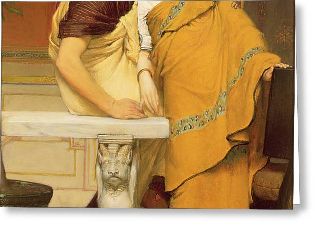 The Mirror Greeting Card by Sir Lawrence Alma-Tadema