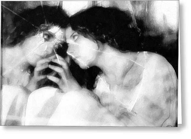 Girl Looking In Mirrow Greeting Cards - The mirror twin Greeting Card by Gun Legler
