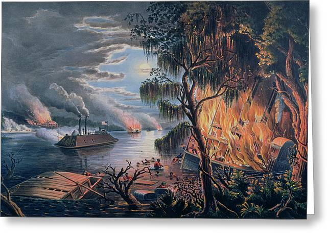 Man Of War Greeting Cards - The Mississippi in Time of War Greeting Card by Frances Flora Bond Palmer